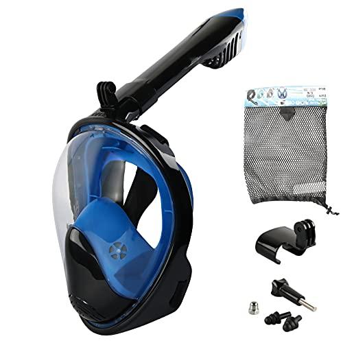 Insputer Máscara de Buceo Máscara Snorkel Gafas Buceo Vista Completa Antivaho y Compatible con Fugas Gafas Snorkel con Soporte de Cámara Gafas de Buceo Adulto y Niños (Azul Marino, L/XL)