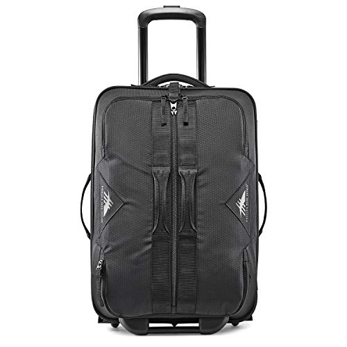 High Sierra Dells Canyon 22-inch Coated Upright Wheeled Luggage Suitcase - Rolling Upright Luggage for Travel - Large Multi-compartment Luggage Suitcase with Wheels Black