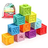 Baby Blocks Soft Building Blocks Baby Toys Teethers Toy Squeeze Play with Numbers Animals Shapes Textures 6 Months and Up,BPA-Free Chewing Toy for Boys&Girls