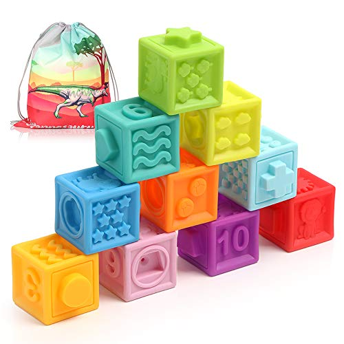 Baby Blocks, Soft Stacking Blocks Baby Toy 6 to 12 Months Toddlers Boys & Girls, Safe Teething Chewing Toys, Squeeze Sensory Toys With Numbers, Animals, Textures, Shapes for Matching Games- BPA-Free