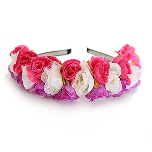 HLIYY Le cerceau d'anneau de fleur de rose de petite fête de mariage Fleur Couronne Bandeau Floral Couronne Colliers de Fleurs Arc Guirlande pour Mariage Festival Partie Voyage