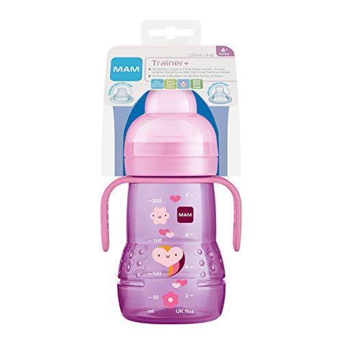 MAM Trainer+ (220 ml), Trinklernflasche für den Übergang zum Becher, auslaufsicherer Trinklernbecher mit tropffreiem Sauger, Trinkschnabel & Haltegriff, 4+ Monate, Tiermotiv, rosa