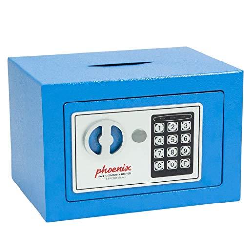 WANGJUNXIU Safes, digitale elektronische kluis voor thuiskantoor muntenteller, muur vloer ankeren ontwerp kabinet geld veilig voor Cash sieraden met 2 noodsleutels sleutel veilige doos Blauw