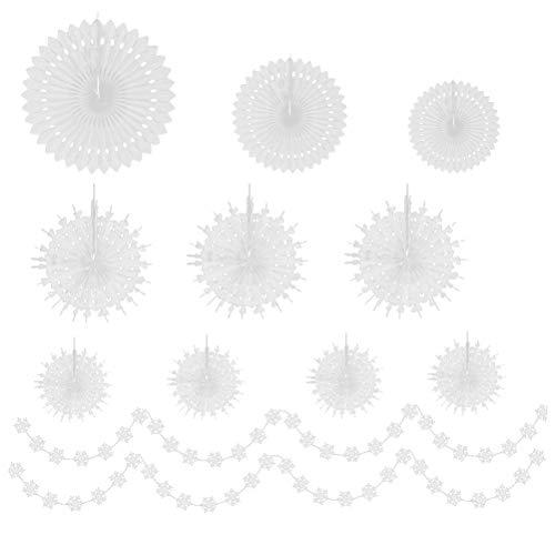 BESPORTBLE 1 Juego de Decoraciones de Fiesta de Copo de Nieve con abanicos de Papel Colgantes y guirnaldas de Copos de Nieve decoración hogareña