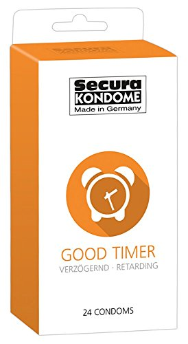 Secura Good Timer 24er Kondome - 24 durchsichtige Präservative zur Verhütung mit Benzocain für Männer, verlängert Erektion