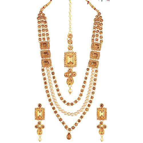 Efulgenz Juego de joyas indias para novias Kundan Crystal Faux Pearl Multi Capas Collar con cuentas Pendientes colgantes Maang Tikka Head Chain Bollywood, Metal,