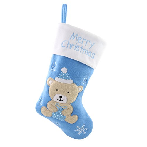 WEWILL 18'' Baby's First Christmas Stockings Felt Teddy Bear Embroidered White Cuff Xmas Stocking Gift Bag Home Holiday Decoration, Blue