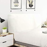 YANJIN 無地ストレッチ生地オールインクルーシブベッドヘッドカバー、寝室のヘッドボード装飾ダストカバータオル、ウッド/レザーベッドサイドの掃除が簡単 (Color : White, Size : 90x70cm)