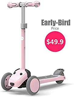 Mountalk 3 Wheel Scooters for Kids, Kick Scooter for Toddlers 2-6 Years Old, Boys and Girls Scooter with Light Up Wheels, Mini Scooter for Children, for Ride On Toys, Pink