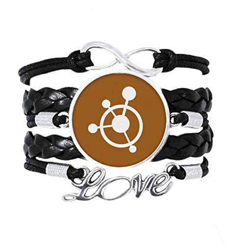 OFFbb-USA Circle Molecular Structural Traction Bracelet Love Accessory Twisted Leather Knitting Rope Wristband Gift