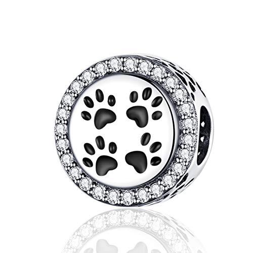 LaMenars - Abalorio de plata de ley 925 con diseño de huellas de My Pet's para pulseras y collares Chamilia y European