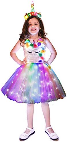 Girls Unicorn Princess Costume LED Light Up Birthday Party Outfit Halloween Tutu Dress with product image
