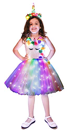 Doxrmuru Girls Unicorn Costume LED Light Up Unicorn Princess Dress for Birthday Party Halloween Christmas with Headband Multicolor/Flower,XL