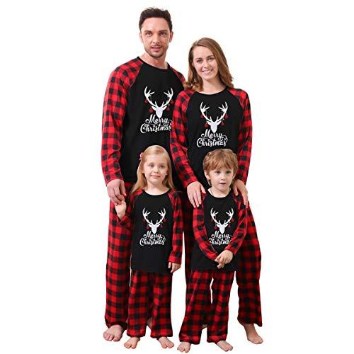ZOEREA Ensemble Pyjama Famille de Noël Vêtement de Nuit Barboteuse Pyjamas à Deux Pièces Set T-Shirt à Manches Longues et Pantalon pour Mère Père Enfant Bébé