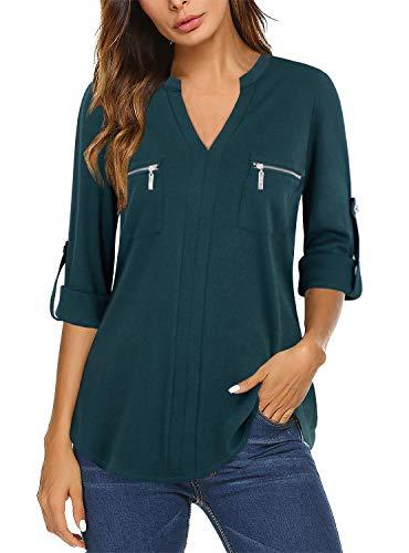Bulotus Tunic Tops for Women 3/4 Sleeve V Neck Casual Zipper Shirts, Dark Green, Large