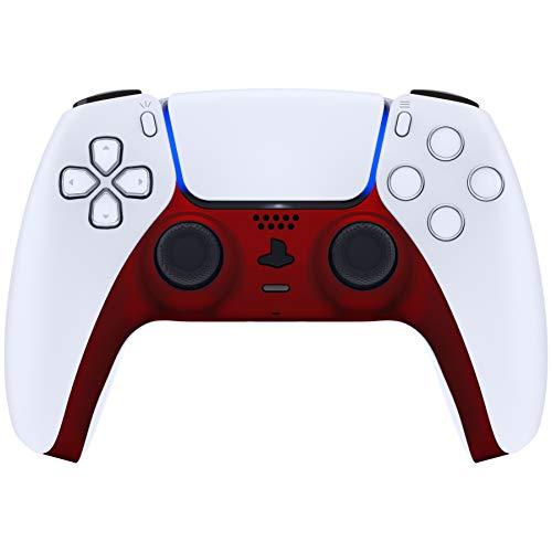 eXtremeRate Abdeckung für PS5 Controller, Hülle Case Schutzhülle Platten Ersatz Clip Shell für DualSense 5 Dekorative Abdeckung für Playstation 5 Controller mit Accent Rings(Soft Touch-Rot)