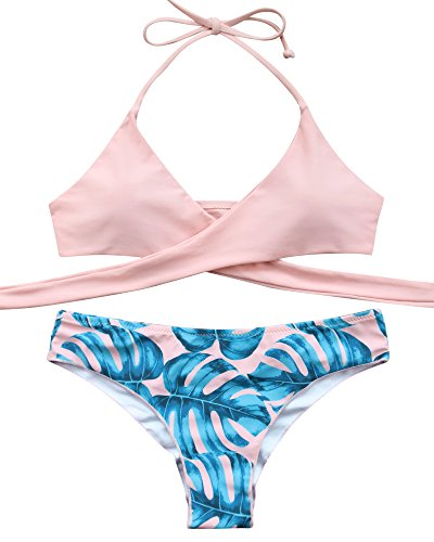 MOOSKINI Womens Padded Push-up Bikini Set Bathing Suits Two Pieces Swimsuit Light Pink Medium