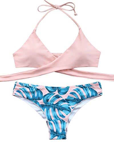 MOOSKINI Womens Padded Push-up Bikini Set Bathing Suits Two Pieces Swimsuit Light Pink Large