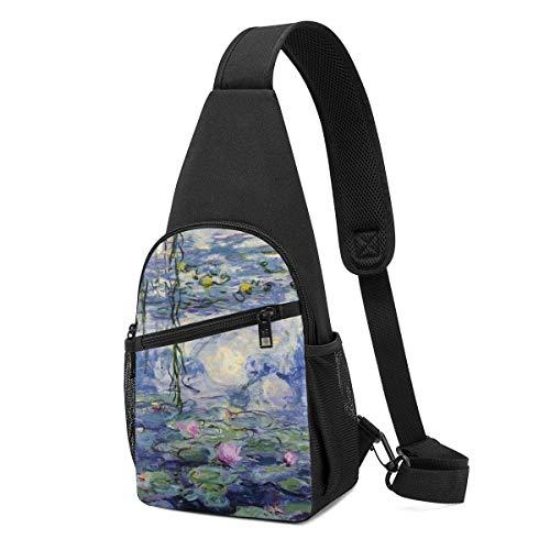 Hdadwy Water Lilies Shoulder Backpack Sling Chest Bag Crossbody Bag Cover Pack Rucksack