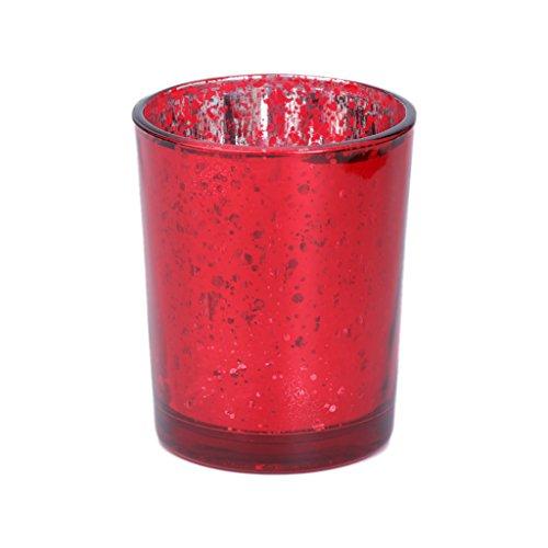 Yunso Photophore en verre mosaïque rouge pour décoration de mariage, maison, fête