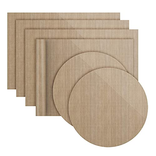 Lot de 6 Papiers de Cuisson Réutilisables Antiadhésifs Durables, Compatibles Lave-Vaisselle, Découpables | Tapis de Cuisson, Feuilles de Cuisson durables (4 carrés 36 * 42cm+2 x Rondes diam 38 cm)