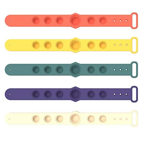 Concey Juguete de Pulsera de Burbujas de Burbujas de Alivio de estrés, Burbuja de Empuje usable Sensory Fidget Finger a Mano Prensa Pulsera de Silicona Juguete para niños Adultos Anti-ansiedad