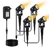 LED Gartenbeleuchtung, CHINLY 3W Gartenleuchten, LED-Gartenscheinwerfer mit zusätzlichem 20 m Kabel und Stecker, warmweißes IP65 wasserdicht, Scheinwerfer für den Außenbereich [Energieklasse A +++]