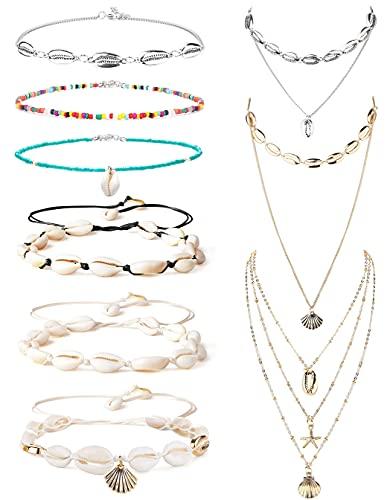 CASSIECA 9 Piezas Collar de Concha y Pulsera de Concha Gargantilla Conjunto de Joyas Collar Tobillera Collares de Bohemia Natural Joyas de Playa para Mujeres y NiñAs