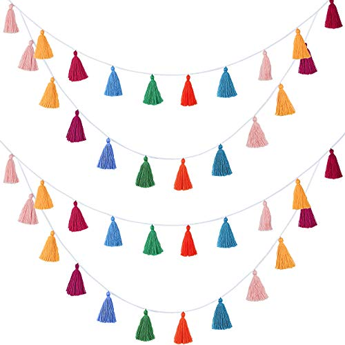 4 Packs Cotton Tassel Garland Colorful Tassel Banner Decorative Wall Hanging for Home Decoration Wedding Birthday Baby Shower Party Supplies, Pre-Assembled (Tassel in 3.1 Inches)