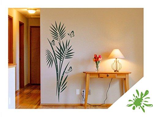 Exklusivpro Wandtattoo Palmenwedel Palme mit Schmetterlinge inkl. Swarovski für Wohnzimmer Schlafzimmer Flur oder Diele (jap46 lindgrün) 90 x 33 cm mit Farb- u. Größenauswahl