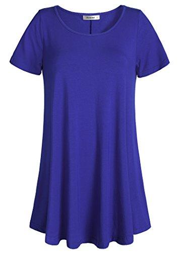 Esenchel Women's Tunic Top Casual T Shirt for Leggings 4X Royal Blue