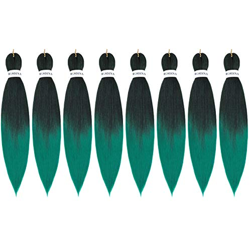 30 Inch 8 Packs Pre Stretched Braiding Hair Natural Long Itch Free Hot Water Setting Synthetic Fiber Crochet Braiding Hair Extension ( 30 Inch ( Pack of 8 ), T1B/Green )