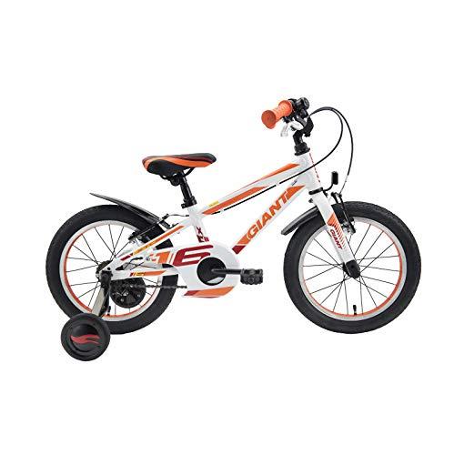 Bicicleta infantil de 40,64 cm de ocio de cuatro ruedas todoterreno, marco de aleación de aluminio blanco, negro y azul, tres colores opcionales, color blanco