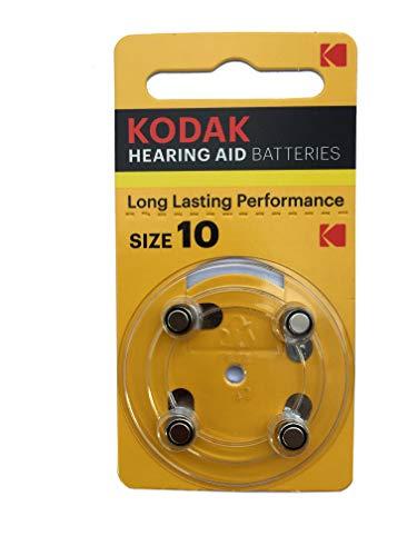 Kodak 30410404 Pack de 4 Piles pour Appareil auditif Taille P10 Argent