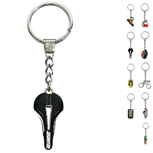 ebos Schlüsselanhänger ✓ aus Metall ✓ Accessoire | fob Key | Sport | Sportarten (Fahrradsattel / schwarz)