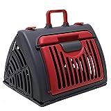 Pet Carrier Dog Puppy Kitten Rabbit Transport & Travel Cage (Red)