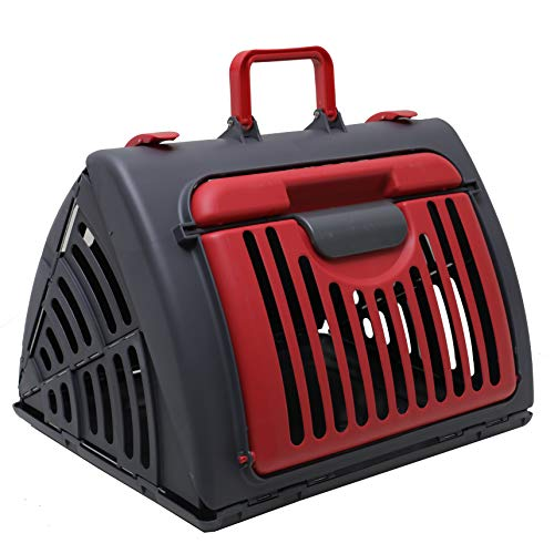Pet Carrier Dog Puppy Kitten Rabbit Transport & Travel Cage (Red)