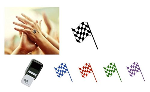 CHEQUED FLAG Hand Stamp - suitable for Festivals, Parties, Clubs, Special Events, Bars etc. (Black)