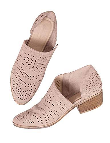 Zapatos Mujer Verano Otoño Sandalias De Cuña Tobillo Boots Respirable Hueco Redonda Toe Zapatos Botas Negro Rosado Amarillo Verde Beige 35-43