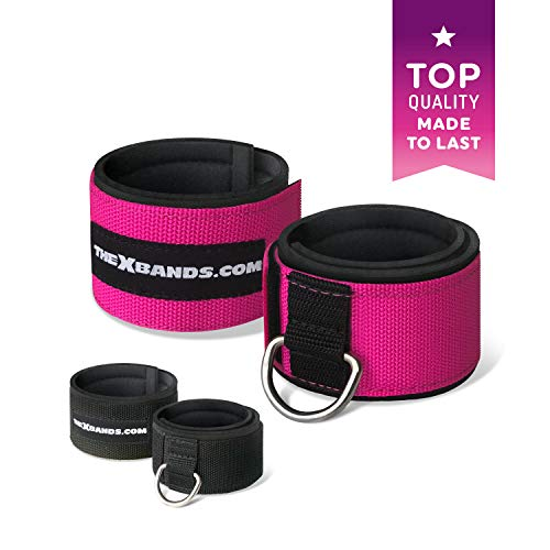 The x Bands - Ankle Cuff for Cable Machine - Ankle Straps - Gym Ankle Strap for Cable Machine - Neoprene Booties - Xbands Resistance Bands - X Bands Booty Bands - Ankle Workout Strap - Pink