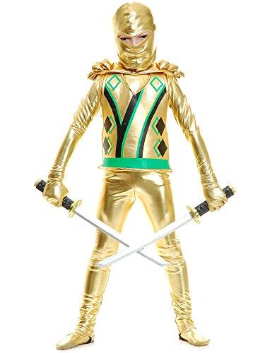 Charades Golden Ninja Series III with Armor Child's Costume, Gold, Medium