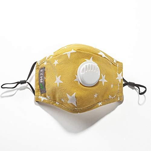 bloatboy Algodón a Prueba de Polvo Reutilizable para niños 𝐌𝐚𝐬𝐜𝐚𝐫𝐢𝐥𝐥𝐚 con filtros Cute Cartoon Design 𝐌𝐚𝐬𝐜𝐚𝐫𝐢𝐥𝐥𝐚 (Amarillo)