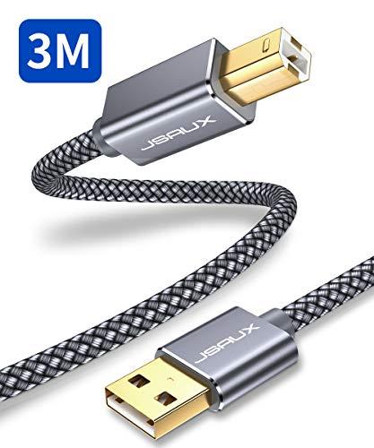 JSAUX USB Druckerkabel 3M Scanner Kabel USB A auf USB B Drucker Kabel für HP, Canon, Dell, Epson, Lexmark, Xerox, Brother, Samsung usw - Grau