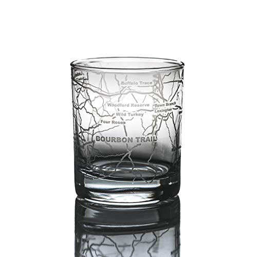 Greenline Goods Whiskey Glasses  Bourbon Trail Kentucky Whisky Single Glass  Etched 10 oz Tumbler Gift with Bourbon Trail Map | Old Fashioned Rocks Glass