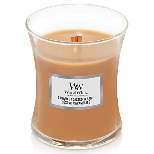 WoodWick, mittelgroße Duftkerze in Sanduhrglas mit knisterndem Docht | Caramel Toasted Sesame | Brenndauer bis zu 60Stunden