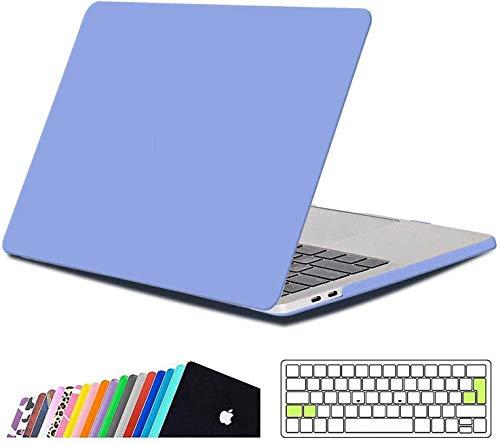 iNeseon Coque Macbook Pro 15 Pouce 2019/2018/2017/2016, Étui de Protection Rigide avec Couverture de Clavier pour MacBook Pro 15 avec Touch Bar Touch ID Modèle A1990/A1707, Bleu Sérénité