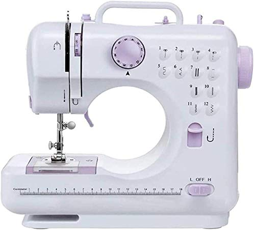 Máquina de coser portátil para principiantes, básica, fácil de usar, para adultos y niños, 12 puntos integrados, 2 velocidades, doble multifunción, máquina de coser eléctrica de mano con pedal de pie