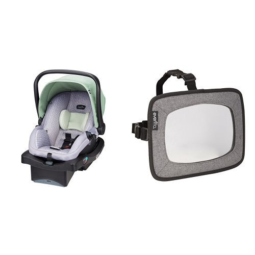 Why Choose Evenflo LiteMax 35 Infant Car Seat with Backseat Baby Mirror for Rear Facing Child, Grey ...