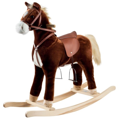 "Happy Trails: Plush Rocking Horse, Brown, 35.25"" x 11.875"" x 32"" (80-6103)"