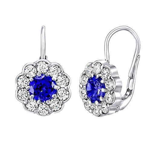 SILVEGO Pendientes de mujer de plata de ley 925 con diseño de flor con piedra azul oscuro Swarovski® Created Stones
